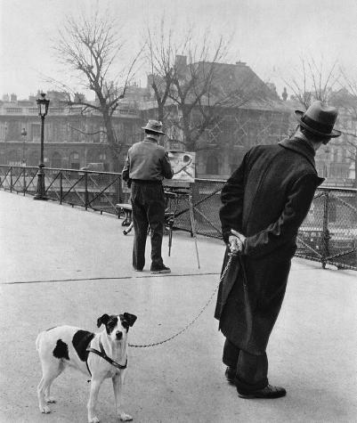 Fox-terrier au Pont des Arts, Paris, 1953